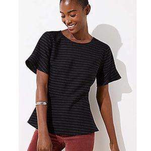 Structured black striped peplum top